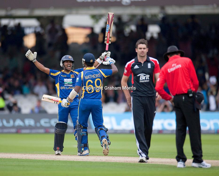 Centurion Dinesh Chandimal and Angelo Mathews celebrate winning the third one day international between England and Sri Lanka at Lord's, London. Photo: Graham Morris (Tel: +44(0)20 8969 4192 Email: sales@cricketpix.com) 03/07/11