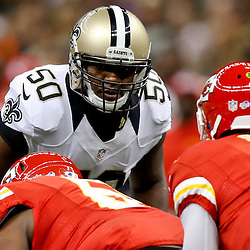 Aug 9, 2013; New Orleans, LA, USA; New Orleans Saints middle linebacker Curtis Lofton (50) against the Kansas City Chiefs during a preseason game at the Mercedes-Benz Superdome. The Saints defeated the Chiefs 17-13. Mandatory Credit: Derick E. Hingle-USA TODAY Sports