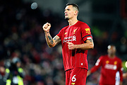 Liverpool defender Dejan Lovren (6) during the Premier League match between Liverpool and Brighton and Hove Albion at Anfield, Liverpool, England on 30 November 2019.