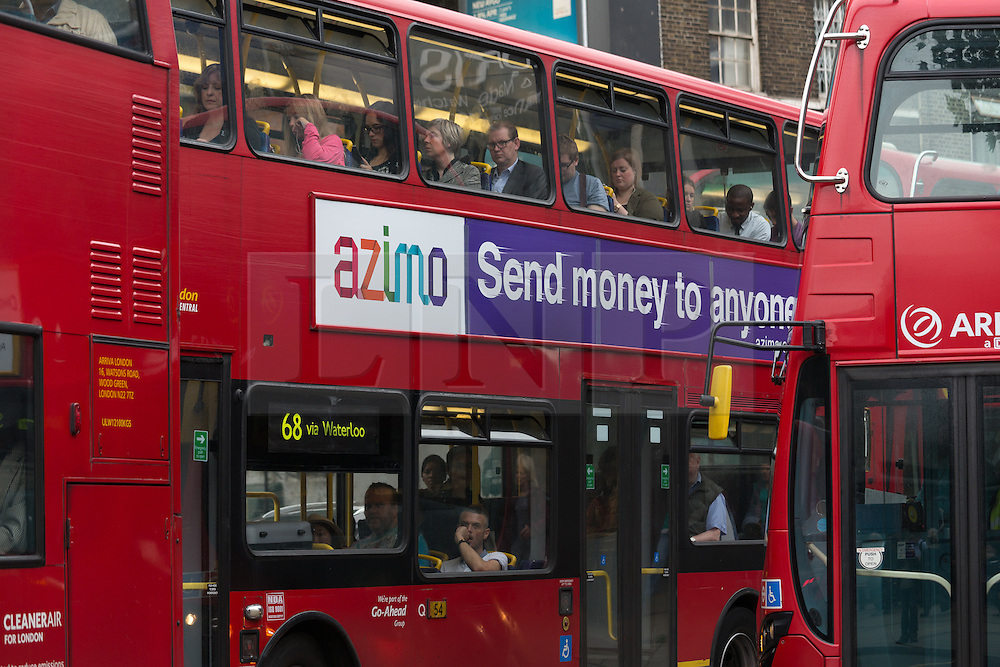 © Licensed to London News Pictures. 06/08/2015. London, UK. A bus sits in a traffic jam at Waterloo station in London. A tube strike today has closed the TfL London Underground network as members of four unions take industrial action for the second time in a month because of a deadlocked dispute over plans to launch a new all-night tube train service next month. Extra busses have been laid on to help commuters get to work. Photo credit : Vickie Flores/LNP