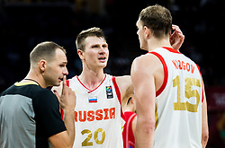 Andrey Vorontsevich of Russia and Timofey Mozgov of Russia during basketball match between National Teams of Russia and Serbia at Day 16 in Semifinal of the FIBA EuroBasket 2017 at Sinan Erdem Dome in Istanbul, Turkey on September 15, 2017. Photo by Vid Ponikvar / Sportida