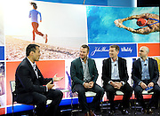 Chris O'Donnell, second left, joins Michael Doughty, second right, President, John Hancock Insurance, Tal Gilbert, right, Senior Vice President of Marketing and Innovation, The Vitality Group, and Jeff Rose, left, Certified Financial Planner, to unveil John Hancock's whole new approach to life insurance that rewards consumers for healthy living, Wednesday, April 8, 2015 in New York. For more information, visit JHRewardsLife.com.  (Photo by Diane Bondareff/Invision for John Hancock Financial/AP Images)