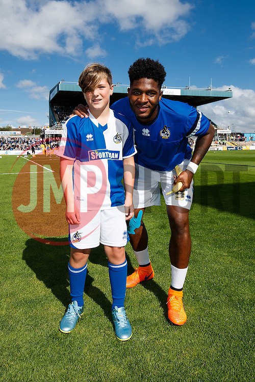 Mascot with Ellis Harrison of Bristol Rovers - Mandatory byline: Rogan Thomson/JMP - 07966 386802 - 12/09/2015 - FOOTBALL - Memorial Stadium - Bristol, England - Bristol Rovers v Accrington Stanley - Sky Bet League 2.