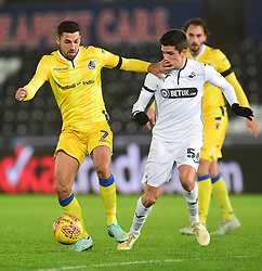 Liam Sercombe of Bristol Rovers battles for the ball with Simon Paulet of Swansea City - Mandatory by-line: Alex James/JMP - 05/12/2018 - FOOTBALL - Liberty Stadium - Swansea, England - Swansea City U21 v Bristol Rovers - Checkatrade Trophy