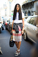 Plaid Skirt and Striped Sweater, Outside Blugirl