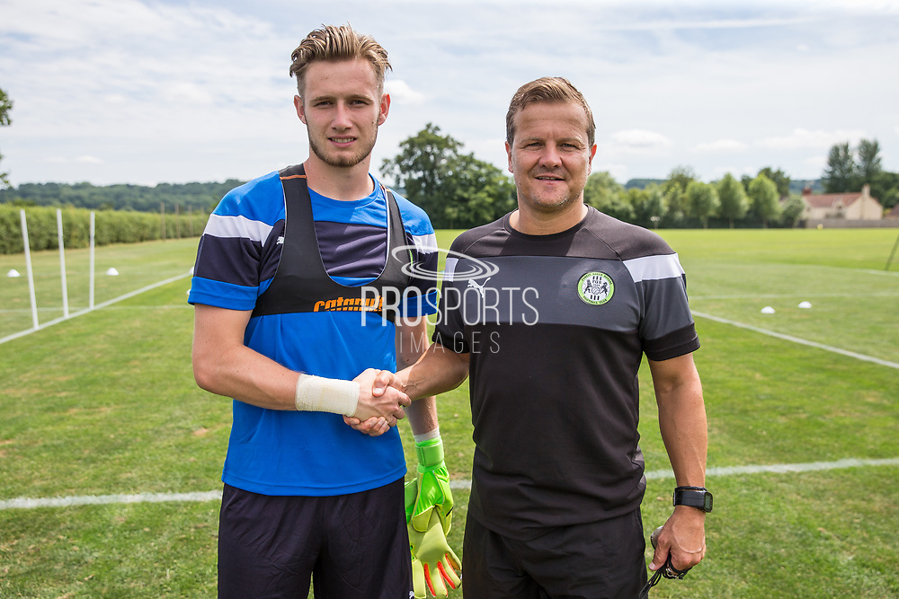 Brad Collins on loan from Chelsea with manager Mark Cooper is the latest Forest Green Rovers Signing at the New Lawn, Forest Green, United Kingdom on 7 July 2017. Photo by Shane Healey.