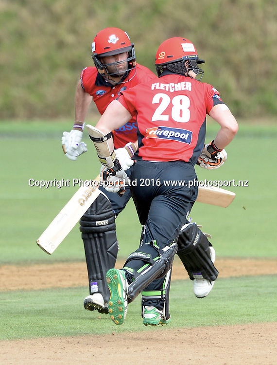 Canterbury's Cam Fletcher and Andy Ellis take a single in the Ford Trophy Final, Central Stags vs Canterbury, Pukekura Park, New Plymouth, January 30, 2016. Copyright photo: Kerry Marshall / www.photosport.nz