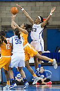 Kentucky forward Evelyn Akhator blocks a shot by  Tennessee guard/forward Jaime Nared in the second half.<br /> <br /> The University of Kentucky hosted the University of Tennessee, Monday, Jan. 25, 2016 at Memorial Coliseum in Lexington .