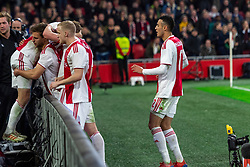 13-03-2019 NED: Ajax - PEC Zwolle, Amsterdam<br /> Ajax has booked an oppressive victory over PEC Zwolle without entertaining the public 2-1 / Noa Lang #37 of Ajax, Daley Blind #17 of Ajax, Matthijs de Ligt #4 of Ajax, Donny van de Beek #6 of Ajax, Joel Veltman #3 of Ajax, Noussair Mazraoui #12 of Ajax