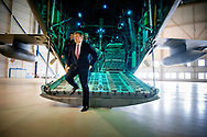 EINDHOVEN - King Willem-Alexander at a C-130 Hercules transport aircraft during a working visit to Eindhoven Air Base. ROBIN UTRECHT