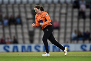 Amanda-Jade Wellington of Southern Vipers celebrates the wicket of Georgia Elwiss of Loughborough Lightning during the Women's Cricket Super League match between Southern Vipers and Loughborough Lightning at the Ageas Bowl, Southampton, United Kingdom on 28 August 2019.