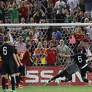 Sean St. Ledger, Ireland, scores past goalkeeper Iker Casillas, Spain, which was disallowed during the Spain V Ireland International Friendly football match at Yankee Stadium, The Bronx, New York. USA. 11th June 2013. Photo Tim Clayton