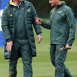 LONDON, ENGLAND - NOVEMBER 10: Springbok coach Heyneke Meyer with Basil Carzis Conditioning Coach during the South African National rugby team training session at Latymer Upper School Sports Grounds on November 10, 2014 in London, England. (Photo by Steve Haag/Gallo Images)
