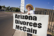 November 1, 2008  -- PHOENIX, AZ: NANCY FREEMAN, from Tucson, AZ, pickets in front of Republican presidential candidate and Arizona Sen. John McCain's Phoenix office Saturday. About 200 people attended an anti John McCain rally in Phoenix, a block from the Senator's Arizona office. The rally was organized by the Arizona End the War Coalition.   Photo by Jack Kurtz / ZUMA Press