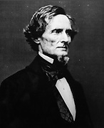 Photograph of Jefferson Davis, 1808-89, after whom Fort Davis was named in 1854, Secretary of War under President Franklin Pierce and president of the Confederate States of America during the Civil War, exhibited at the Fort Davis National Historic Site, a US army fort established 1854, in a canyon in the Davis Mountains in West Texas, USA. The fort was built to protect emigrants, mail coaches, and freight wagons on the trails through the State from Comanche and Apache Indians. After the Civil War, several African-American regiments were stationed here. By the 1880s, the fort consisted of one 100 buildings, housing over 400 soldiers. It was abandoned in 1891, but many buildings have been restored and the compound now operates as a historical site and museum. Picture by Manuel Cohen