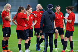 NEWPORT, WALES - Tuesday, November 6, 2018: Wales' Women's national team manager Jayne Ludlow with Natasha Harding, Angharad James, captain Sophie Ingle, Kayleigh Green and Helen Ward during a training session at Dragon Park ahead of two games against Portugal. (Pic by Paul Greenwood/Propaganda)
