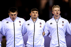Olly Adkins, Aaron Hinkley and Josh Hodge of England U20 - Mandatory by-line: Robbie Stephenson/JMP - 22/02/2019 - RUGBY - Zip World Stadium - Colwyn Bay, Wales - Wales U20 v England U20 - Under-20 Six Nations