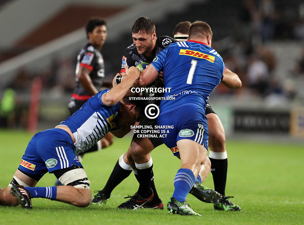 DURBAN, SOUTH AFRICA - MAY 27: Oli Kebble of the DHL Stormers with a tackle on Ruan Botha of the Cell C Sharks during the Super Rugby match between Cell C Sharks and DHL Stormers at Growthpoint Kings Park on May 27, 2017 in Durban, South Africa. (Photo by Steve Haag/Gallo Images)