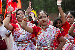 © Licensed to London News Pictures. 14/05/2017. LONDON, UK. <br /> Performers dance in the street during the Boishakhi Mela street parade festival along and around Brick Lane in east London to celebrate the Bengali New Year. The Boishakhi Mela in Tower Hamlets is the largest celebration of Bengali New Year in Europe, attracting performers and crowds of thousands of spectators from around the world. Photo credit: Vickie Flores/LNP