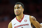 FAYETTEVILLE, AR - NOVEMBER 13:  Jabril Durham #4 of the Arkansas Razorbacks looks at the shot clock during a timeout against the Southern University Jaguars at Bud Walton Arena on November 13, 2015 in Fayetteville, Arkansas.  The Razorbacks defeated the Jaguars 86-68.  (Photo by Wesley Hitt/Getty Images) *** Local Caption *** Jabril Durham