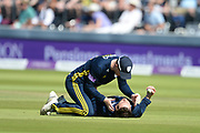 Dale Steyn of Hampshire congratulates James Vince after taking a catch to dismiss Joe Denly during the Royal London 1 Day Cup Final between Hampshire County Cricket Club and Kent County Cricket Club at Lord's Cricket Ground, St John's Wood, United Kingdom on 30 June 2018. Picture by Dave Vokes.