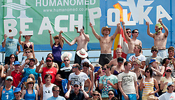 "Fans with sing ""Beach Polka"" at A1 Beach Volleyball Grand Slam tournament of Swatch FIVB World Tour 2010, for bronze medal, on July 31, 2010 in Klagenfurt, Austria. (Photo by Matic Klansek Velej / Sportida)"