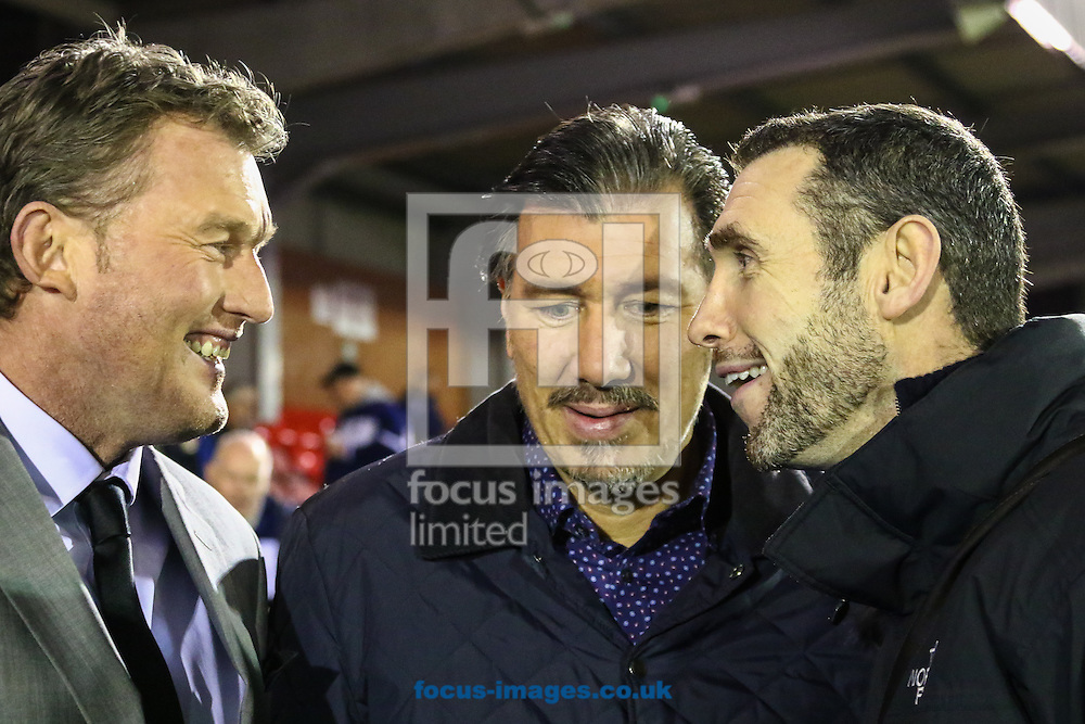 Dave Beasant (left) Lawrie Sanchez, (centre) and Martin Keown (right) ahead of the FA Cup match at the Cherry Red Records Stadium, Kingston<br /> Picture by David Horn/Focus Images Ltd +44 7545 970036<br /> 05/01/2015