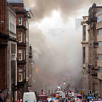 Fire crews fight a fire in a building on Wellington Street, Glasgow city centre.