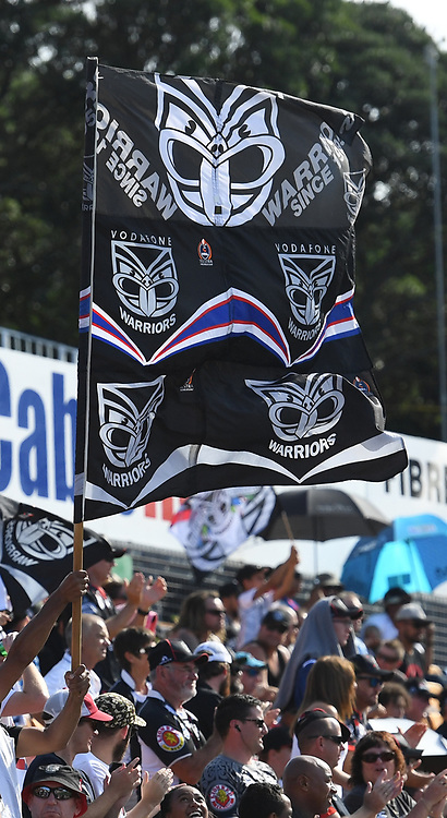 Fans and supporters in the crowd.<br /> Vodafone Warriors v Newcastle Knights. NRL Rugby League. Mt Smart Stadium, Auckland, New Zealand. Sunday 5 March 2017 &copy; Copyright Photo: Andrew Cornaga / www.Photosport.nz