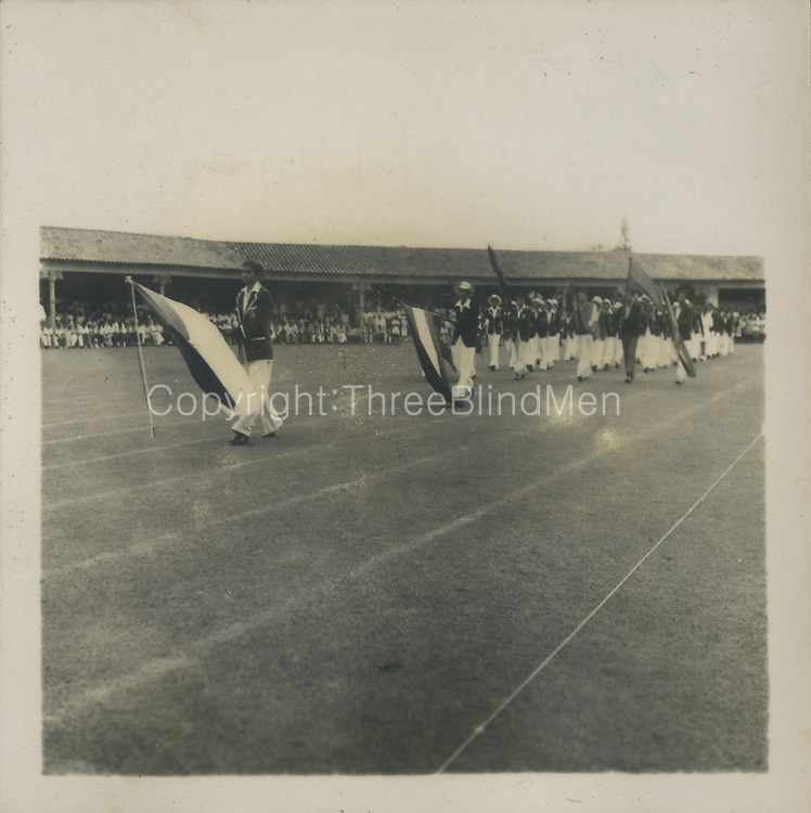 Public schools athletic meeting at Oval in 1948&mdash;SJC team&mdash;carrying flag Darnley D&rsquo;souza (Lucien Dep can identify for sure)<br />