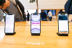 © Licensed to London News Pictures. 20/09/2019. London, UK. The new iPhone 11 mobile phone on display at the Apple Regent St store. Photo credit: Ray Tang/LNP
