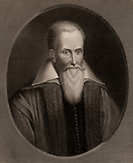 John Justus Scaliger (1540-1609) French religious leader, scholar and classicist, born at Agen.  He became a Calvinist (Protestant) while in Paris in 1562.  From 'The Gallery of Portraits', Vol VII, by Charles Knight (London, 1837).  Engraving.