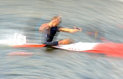 CANOIST COMPETES IN MEN'S K1 RELAY 200 METERS QUALIFICATION RACE DURING 2010 ICF KAYAK SPRINT WORLD CHAMPIONSHIPS ON MALTA LAKE IN POZNAN, POLAND...POLAND , POZNAN , AUGUST 22, 2010..( PHOTO BY ADAM NURKIEWICZ / MEDIASPORT ).