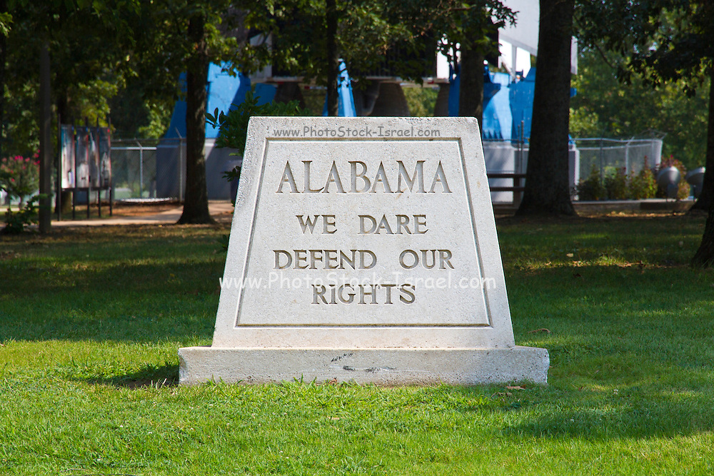 The Alabama state motto at the Alabama welcome center on Interstate 65.