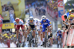July 7, 2018 - Fontenay-Le-Comte, FRANCE - Colombian Fernando Gaviria of Quick-Step Floors (R) wins before 111 Slovak Peter Sagan of Bora-Hansgrohe (C) and German Marcel Kittel of Team Katusha-Alpecin (L) the sprint at the finish of the first stage of the 105th edition of the Tour de France cycling race, 201km from Noirmoutier-en-l'Ile to Fontenay-le-Comte, France, Saturday 07 July 2018. This year's Tour de France takes place from July 7th to July 29th. BELGA PHOTO YORICK JANSENS (Credit Image: © Yorick Jansens/Belga via ZUMA Press)