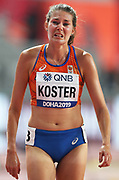Maureen Koster (NED) reacts after falling in a women's 5,000m heat during the IAAF World Athletics Championships, Wednesday, Oct 2, 2019, in Doha, Qatar. (Claus Andersen/Image of Sport)