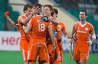 NEW DELHI -  Vreugde  Jonker, Buissant, Polkamp, Jolie en Baart tijdens de finale van de Hockey World League finaleronde tussen de mannen van Nederland en Nieuw-Zeeland (7-2).  Nederland wintr de HWL. ANP KOEN SUYK