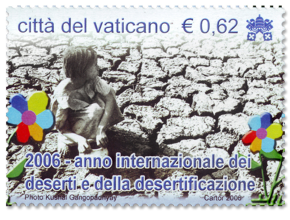 Photograph used in postage stamp released by Vatican City Philatelic Office to commemorate the International Year of Desertification in 2006.