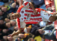 SPORTSBEAT 01494 783165<br />PICTURE ADY KERRY <br />WATFORD VS SHEFFIELD UNITED<br />SHEFFIELD UNITED'S JACK LESTER CELEBRATES THE FIRST GOAL AGAINST WATFORD'S  DURING THEIR DIVISION 1 MATCH AT VICARAGE ROAD, 13TH MARCH 2004.