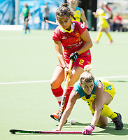 BRUSSEL - Jordyn Holzberger (Aus.) and Rocio GUTIERREZ (SPA)      during AUSTRALIA v SPAIN , Fintro Hockey World League Semi-Final (women) . COPYRIGHT KOEN SUYK