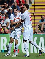 FUSSBALL  DFB POKAL        SAISON 2012/2013 SpVgg Unterchaching - 1. FC Koeln  18.08.2012 Jubel nach dem Tor zum 0:1 Thomas Broeker, Kevin Pezzoni  (v. li., 1. FC Koeln)
