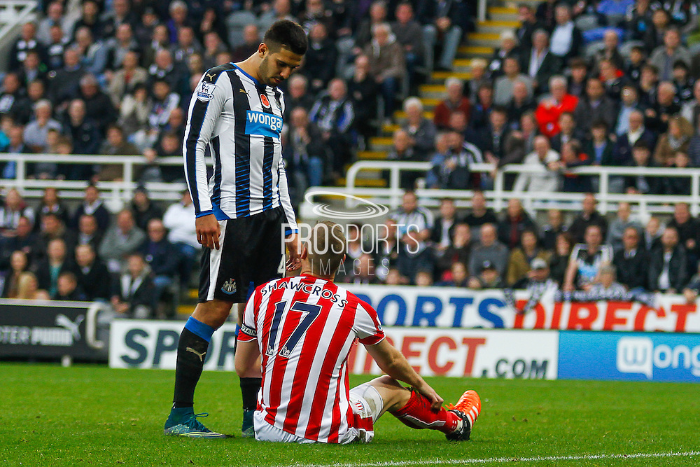 Newcastle United Forward Aleksandar Mitrovic stands over Stoke City Defender Ryan Shawcross  during the Barclays Premier League match between Newcastle United and Stoke City at St. James's Park, Newcastle, England on 31 October 2015. Photo by Craig McAllister.