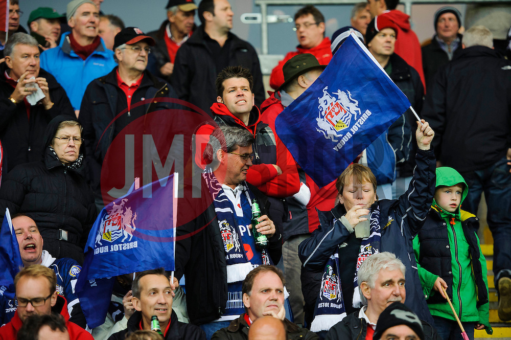 Bristol fans show their support before kick off - Photo mandatory by-line: Rogan Thomson/JMP - 07966 386802 - 28/05/2014 - SPORT - RUGBY UNION - Kassam Stadium, Oxford - London Welsh v Bristol Rugby - Greene King IPA Championship Play Off Final First Leg.