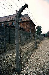 POLAND AUSCHWITZ AUG96 - Barbed wire and barracks at Auschwitz camp I.<br /> <br /> jre/Photo by Jiri Rezac<br /> <br /> © Jiri Rezac 1996<br /> <br /> Tel:   +44 (0) 7050 110 417<br /> Email: info@jirirezac.com<br /> Web:   www.jirirezac.com