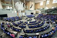 """25 MAR 2020, BERLIN/GERMANY:<br /> Uebersicht Plenarsaal - Um das Abstandsgebot zu beachten, ist nur jder dritte Platz in den Abgeordnentenreihen besetzt, Bundestagsdebatte zu """"COVID 19 - Kreditobergrenzen, Nachtragshaushalt, Wirtschaftsfonds"""", Plenum, Reichstagsgebaeude, Deutscher Bundestag<br /> IMAGE: 20200325-01-028<br /> KEYWORDS: Pandemie, Corona, Sitzung, Debatte, Übersicht"""