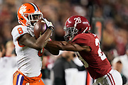 Jan 7, 2019; Santa Clara, CA, USA; Clemson Tigers wide receiver Justyn Ross (8) makes a catch ahead of Alabama Crimson Tide defensive back Josh Jobe (28) during the third quarter in the 2019 College Football Playoff Championship game at Levi's Stadium.