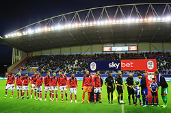 Bristol City players line up before kick off - Mandatory by-line: Matt McNulty/JMP - 21/09/2018 - FOOTBALL - DW Stadium - Wigan, England - Wigan Athletic v Bristol City - Sky Bet Championship