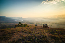 Vast hazy landscape near the Plain of Jars - Site 2, south of Phonsavan, Xieng Khouang Province, Laos, Southeast Asia
