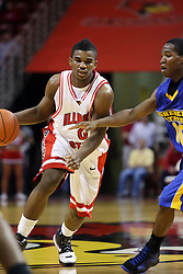 06 December 2008: Osiris Eldridge makes a cut intending to get past Robert Murry during a game where the  Illinois State University Redbirds extended their record to 9-0 with a 76-70 win over the Eagles of Morehead State on Doug Collins Court inside Redbird Arena on the campus of Illinois State University in Normal Illinois