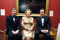 Left to right, SIMON ROBEY UK head of Morgan Stanley, BARONESS THATCHER and DAVID CAMERON at the Morgan Stanley Great Britons Awards at The Guildhall, City of London on 31st January 2008.  Conservative party leader David Cameron presenter a lifetime achievement award to former Prime Minister Baroness Thatcher.<br /> <br /> NON EXCLUSIVE - WORLD RIGHTS (EMBARGOED FOR PUBLICATION IN UK MAGAZINES UNTIL 2 WEEKS AFTER CREATE DATE AND TIME) www.donfeatures.com  +44 (0) 7092 235465
